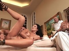 Dark-haired With Big Hooters Does Oral Job For Hard Dicked Fuck Friend Marco Banderas To Love