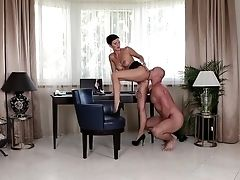 Dark-haired Neeo With Big Jugs Is In Heaven Eating Guys Pulsing Sausage