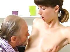 Bearded Old Tutor Is Slurping Fuckbox Of Pretty Hot Gal Marisa