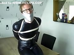 Wsbp - Restrained And Tapegagged Fellow In Catsuit!