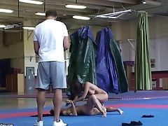 Interracial Nude Fight Club Match With Amabella And Asian Sharon Lee
