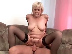 Grand-ma In Stockings Gets A Facial Cumshot