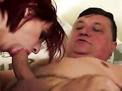 Adorable Sandy-haired Grety Delights Chubby Grandfather