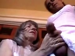 Old Lady Plays With Crossdresser's Hard Cock