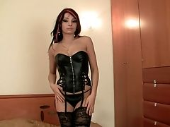 Stunning Black-haired Milky Chick In Black Stockings And Leather Corset