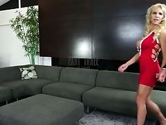 Big-boobed Blonde Cougar In Crimson Sundress Blinded And Seduced For Gang-bang
