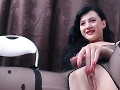 Hot Dark Haired Honey On Webcam Taunting And Frigging Her Muff