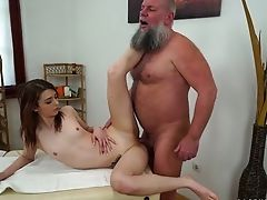 Beautiful Youthful Customer Tera Link Is Finger Fucked And Fucked By Old Masseuse