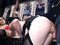 Perverted Master Fucks Two Big-titted And Big Bottomed Whores