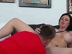 Hot Buxomy Mummy Gets Some Asslicking After Blow-job