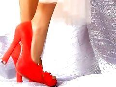 Asmr Female Gams In Crimson High-heeled Footwear - Ballerina Having Joy